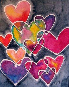 Colourful Hearts♥️ Of Love ♥️ - Digital Artwork - For Children - Muttertag Art For Kids, Crafts For Kids, Heart Painting, Giraffe Painting, Valentine Day Crafts, Art Classroom, Heart Art, Art Plastique, Art Activities
