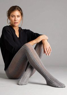 Buy Jonathan Aston Cable Knit Stripe Tights for We are Earth's biggest hosiery store, we offer more sizes and colours for Jonathan Aston Cable Knit Stripe Tights than any one else. Pantyhose Outfits, Nylons, In Pantyhose, Fashion Tights, Tights Outfit, Grey Fashion, Steampunk Fashion, Gothic Fashion, Striped Tights