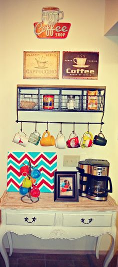DIY coffee bar. I could totally do this above my kitchen table. Hmm..