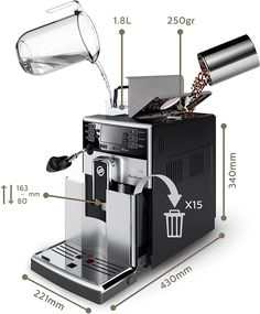 Saeco HD8924/47 PicoBaristo AMF Automatic Espresso Machine, Stainless Steel, 21.  Enjoy 7 beverages at your fingertips, from espresso to cappuccinos and lattes;Boiler Design :Thermoblock Saeco Espresso, Espresso Machine Reviews, Automatic Espresso Machine, Amazon Coffee, Cappuccinos, Boiler, Home Kitchens, Latte, Coffee Maker