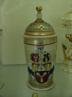 Fritz Heckert decorated jar showing Harrach Family Crest