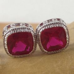 2.5 ctw Cushion Cut Ruby Red Zircon Pierced Push Back Earrings LA E3413-RU. Starting at $1