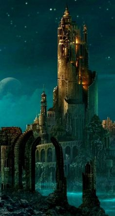 A capital city, maybe for the elves or a nature/water based type/ A very majestic castle