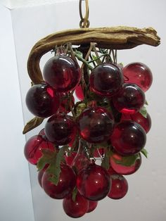 1960s Red Lucite Grape Cluster Hanging Swag Light by donDiLights