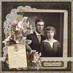 Albert Dora Hamilton ~ I just love this subtly intricate heritage wedding portrait page. The lace doily and flower clusters are just gorgeous and the scan from the photo's back reveals interesting family information. Heritage Scrapbook Pages, Vintage Scrapbook, Scrapbook Page Layouts, Scrapbook Albums, Scrapbook Cards, Digital Scrapbooking, Scrapbooking Ideas, Etiquette Vintage, Family History Book