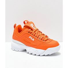 Shop Women's Fila Orange size Sneakers at a discounted price at Poshmark. Orange Sneakers, Orange Shoes, White Shoes, Air Max Sneakers, Aqua Shoes, Sneakers Sale, Toddler Sneakers, Women's Shoes