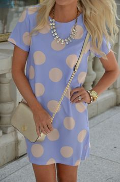 Polka Dot Pastel. Light Spring. Nice how the details all work together to make a T-shirt dress so much more. She looks happy, comfortable, rational, imaginative, connected, finding ways for trends to work for her.