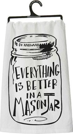 mason jar flour sack towel - Farmhouse Friday Round Up of Mason Jar Projects and Decor (affiliate link)