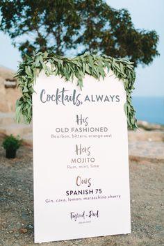 signature drink sign, bohemian wedding signage | Photography: Vasilis Kouroupis