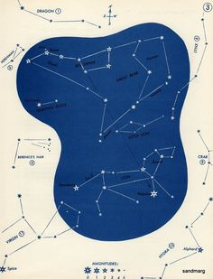 1952 Star Constellation Chart Great Bear Lion Leo Hunting Dogs Little Lion