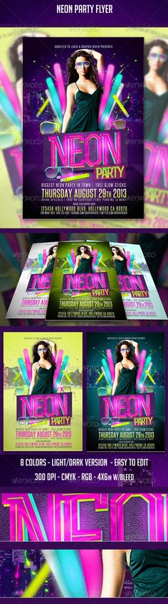 Neon party Flyer This flyer can be used for any event or special theme for a club. for neon or glow in the dark parties. FOr glow stick give away. foam glow stick night. anything bright, body paint night etc. 46 with bleed 8 ColorsCredit List IncludedFree Fonts (list included)Layered PSD , Well organized in folders and color coordinated.Print and w