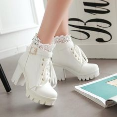 Chelsea boots outfit peeptoes wedges,sports shoes urban outfitters cute shoes,half shoes for ladies black lace knee high boots. Lace High Heels, Lace Up Ankle Boots, Heeled Boots, Shoe Boots, Cute Shoes Boots, Platform Ankle Boots, Calf Boots, Ankle Straps, Shoes High Heels