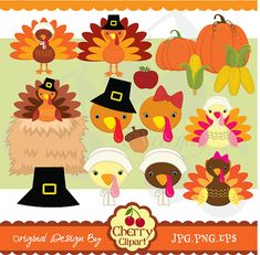 Thanksgiving Turkeys Digital Clip Art Set for -Personal and Commercial Use-paper crafts,card making,scrapbooking,web design Thanksgiving Activities For Kids, Thanksgiving Crafts For Kids, Fall Clip Art, Turkey Craft, Templates Printable Free, Fall Cards, Button Crafts, Art Activities, Christmas Art