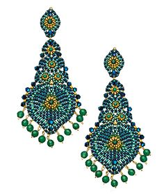 Miguel Ases Green Onyx Chandelier Earrings