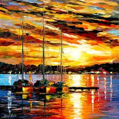 """Three Brothers — PALETTE KNIFE Seascape Modern Wall Art Textured Oil Painting On Canvas By Leonid Afremov - Size: 24"""" x 24"""" (60 cm x 60 cm)"""