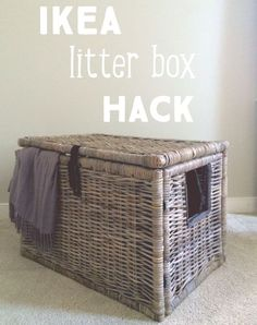 Super easy IKEA Hack, turn wicker chest into a secret litter box hide out! Super easy IKEA Hack, turn wicker chest into a secret litter box hide out! Hiding Cat Litter Box, Hidden Litter Boxes, Litter Box Covers, Cat Litter Boxes, Enclosed Litter Box, Cat Boxes, Litter Box Enclosure, Ikea Cat, Benny And Joon