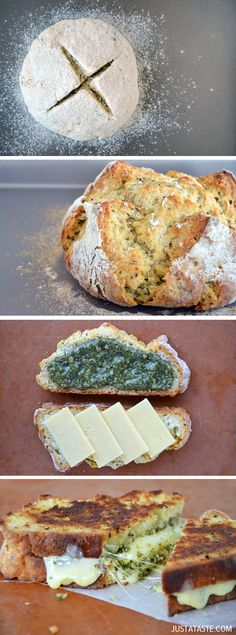 Make the ultimate grilled cheese sandwich with quick and easy homemade Irish soda bread, thick slices of cheddar and quick-fix basil pesto. I Love Food, Good Food, Yummy Food, Healthy Food, Sandwiches, Beste Burger, Soda Bread, Irish Recipes, The Best