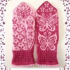 Ravelry: Papilio mittens 2 pattern by JennyPenny Crochet Mittens Free Pattern, Knit Mittens, Knitted Gloves, Knit Crochet, Knitting Charts, Knitting Patterns, Crochet Patterns, Double Knitting, Hand Knitting