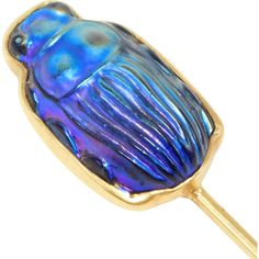 18K Tiffany Favrile Iridescent Scarab Beatle Hat Pin Or Stick Pin