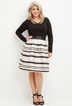 So cute!  Plus Size Striped Organza Skirt