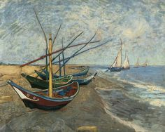 Van Gogh, Fishing Boats on the Beach at Saintes Maries, 1888. he painted a different masterpiece a day and left them all behind to dry when he returned to Arles.