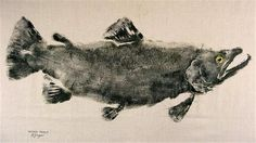 GYOTAKU using antique ink on tan muslin (brown trout by Barry Singer)