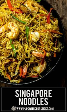 An easy to make dry curry noodle dish (Singapore Noodle) made with stir-fried vermicelli noodles curry powder shrimp strips of eggs meat and vegetables - just like the restaurants but made in the comfort of your home! Shrimp Noodles, Curry Noodles, Stir Fry Noodles, Asian Noodles, Vermicelli Recipes, Vermicelli Noodles, Asian Noodle Recipes, Asian Food Recipes, Plate