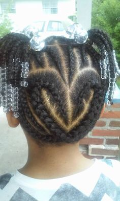heart cornrows on back with beads n mohawk at top Afro Hairstyles For Kids, Young Girls Hairstyles, Baby Girl Hairstyles, Natural Hairstyles For Kids, Cool Hairstyles, Little Girl Braids, Braids For Kids, Girls Braids, Natural Hair Twa