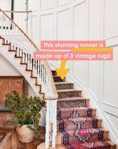 Jan 2018 - The cover and main feature shows Hilary Duff's adorable California home with vintage rug stair runner. Stair Rug Runner, Staircase Runner, Stair Rugs, Runner Rugs, Staircase Ideas, Stair Runners, Stairway Carpet, Carpet Stairs, Entryway Rug