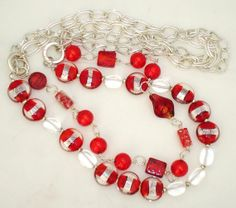 Ashira 4 Strand Convertible Necklace with Red Murano Blown Glass Beads & Silver Chain Jewelry Ideas, Unique Jewelry, Bead Necklaces, Blown Glass, Hair Jewelry, Convertible, Beading, Glass Beads, Hair Accessories