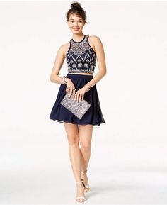 1d2c806ad4721 B Darlin Juniors' Embellished Strappy-Back 2-Pc. Dress, Created for Macy's  & Reviews - Dresses - Juniors - Macy's. Navy Chiffon DressNavy Blue ...
