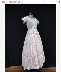 SALE Wedding Dress // Vintage 1970s Bisque Boho Mexican Lace Wedding Dress Size S. $140.25, via Etsy.