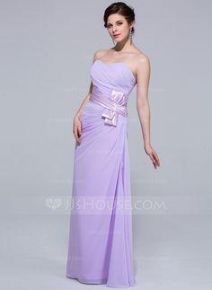 Sheath/Column Sweetheart Floor-Length Chiffon Charmeuse Bridesmaid Dress With Ruffle (007037302)