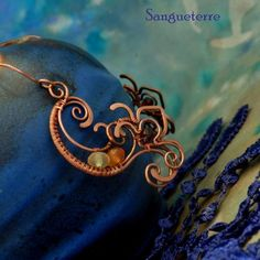 Agua * earrings of fire and water wirewrapping * wirewrapped * jewelry * copper * romantic * fantasy * fairy * elf * fairytale * magic * art nouveau * handmade