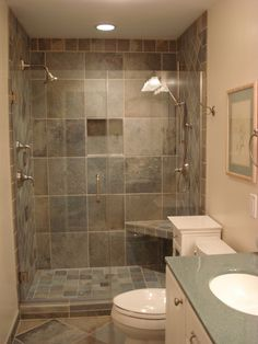 bathroom remodels with showers shower slate tiles wall - Pics Of Bathroom Remodels