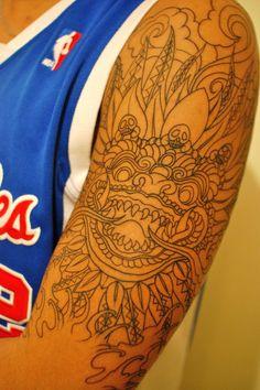 "fuckyeahtattoos: "" Tibetan Snow Lion I found this design on a pair of boardshorts. I asked my tattoo artist, Ricky Sta. Tibetan Tattoo, Tibetan Art, Story Tattoo, Japanese Dragon Tattoos, Graphic Design Layouts, Henna Mehndi, Lion Tattoo, Animal Tattoos, Tattoo Drawings"