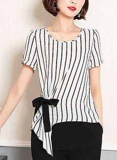 Polyester Streifen Rundhals kurze Ärmel Lässige Kleidung T-Shirt