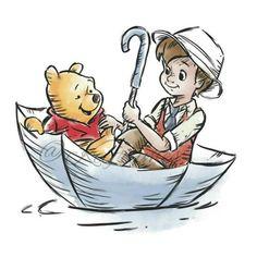 Christopher Robin and Winnie the Pooh Winnie The Pooh Drawing, Winnie The Pooh Quotes, Winnie The Pooh Friends, Disney Winnie The Pooh, Disney Love, Disney Art, Robin Drawing, Bear Drawing, Eeyore
