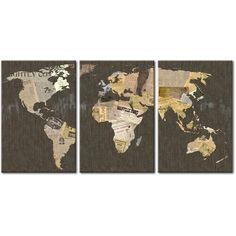 Carte du monde avec une touche artistique - une telle décoration embellira parfaitement chaque salon élégant #carte #tableaux #tableau #tableau-sur-toile #photo-sur-toile