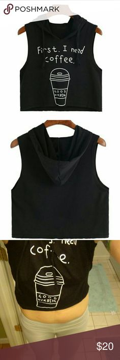 Super Cute Coffee Hooded Tank Cropped length. Brand spanking new!! Tried on once for pic. Urban Outfitters Tops Crop Tops