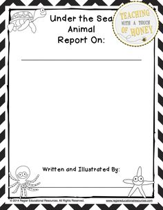 Ocean Animal Research - Report Writing Templates Under The Sea Animals, Under The Sea Theme, Writing Process, Writing Skills, Lesson Planet, First Grade Writing, Report Writing, Informational Writing, New Teachers