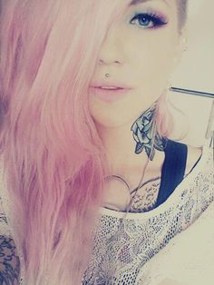 rose tattoo pink hair makeup