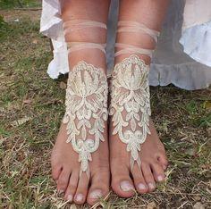 ücretsiz gemi ---- şampanya dantel sandalet gelinlik halhal, halhal bridallace Sahil düğün yalınayak sandalet, halhal, halhal düğün, gelin