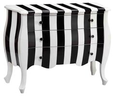 Stein World Black and White Striped Loki 3 Drawers Table