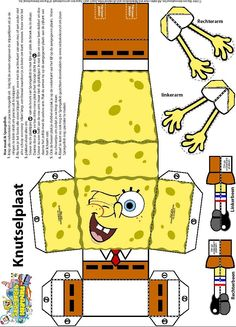 Over 50 Free Spongebob Squarepants Crafts and Patterns at AllCrafts! in spongebob drawing in graphing paper collection - ClipartXtras Creation Preschool Craft, Spongebob Crafts, Fun Crafts, Diy And Crafts, Kirigami, Origami Paper, Fun Origami, Diy Box, Paper Models