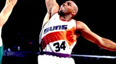 Phonix Suns Jerseys from 1992 to 2000, as well as iconic basketball player Charles Barkley wearing it and playing for them