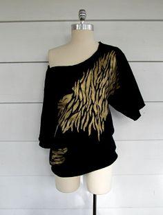 Off the shoulder Gold, Zebra Sweatshirt.