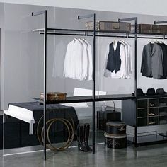 Divine walking closet designs you need to have. Thirty walking closet ideas for the perfect fashion wardrobe. Feed your design ideas now. Walk In Wardrobe Design, Open Wardrobe, Wardrobe Storage, Bedroom Wardrobe, Wardrobe Closet, Closet Storage, Wardrobe Ideas, Closet Ideas, Steel Wardrobe