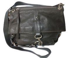 Banana Republic Leather Crossbody Purse Foldover Zip Top Dark Olive #BananaRepublic #CrossbodyShoulderBag