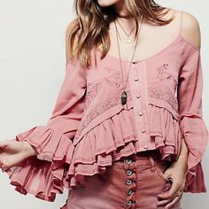 "Free People ""Woodstock Gauze Open Shoulder"" Top A terra cotta color flowy top, shirt has open shoulder with non adjustable spaghetti straps. Bell ruffle sleeves and matching hem, with same color embroidery on the front. Free People Tops Blouses"